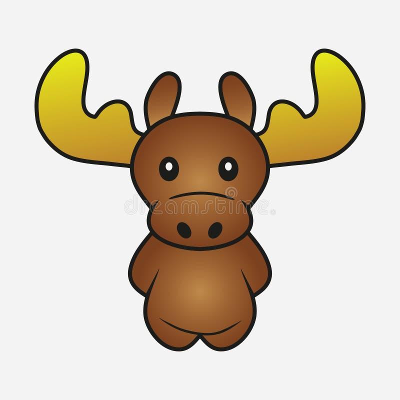 Historieta de los alces alces Animal de cuernos del bosque Muestra para los juguetes suaves Impresión para la ropa, camisetas Vec ilustración del vector