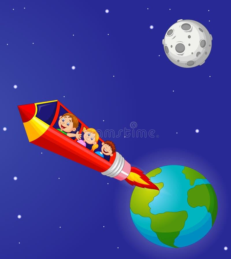 Historieta de los alumnos que goza del lápiz Rocket Ride stock de ilustración