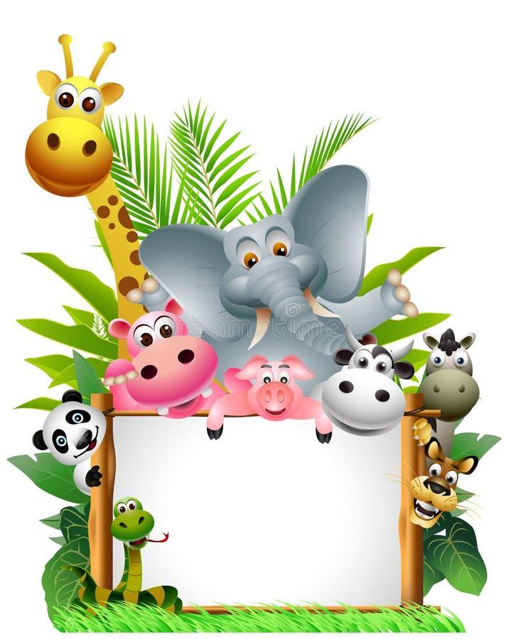 Historieta de los animales con la muestra en blanco stock de ilustración