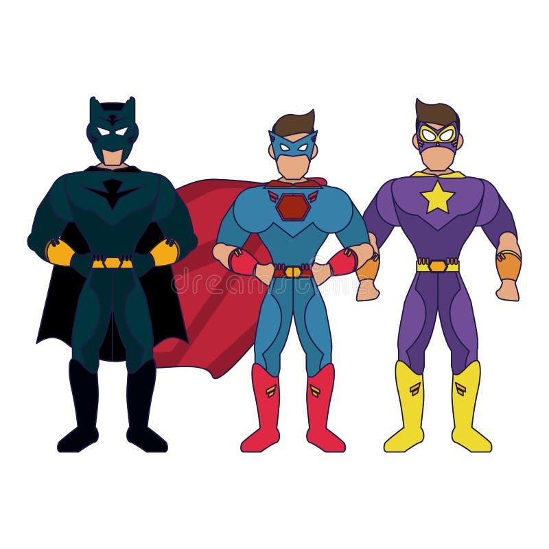 Historieta de los caracteres de Superheros stock de ilustración
