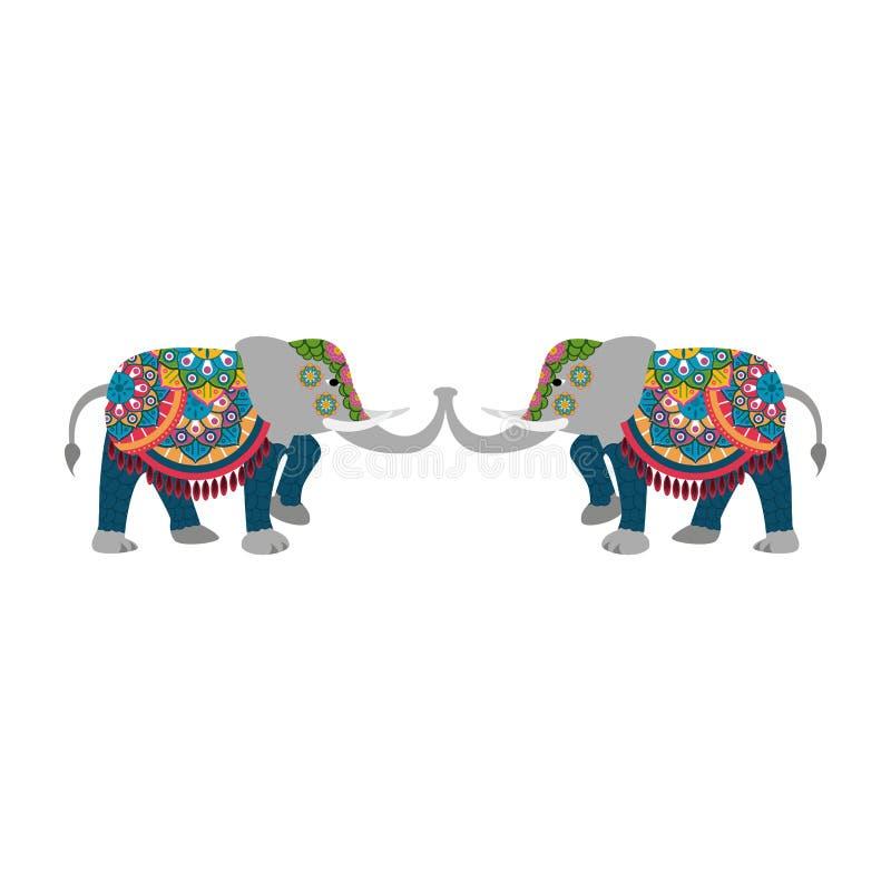 Historieta de los elefantes indios stock de ilustración