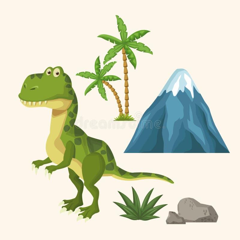 Historieta de los elementos de los dinosaurios ilustración del vector