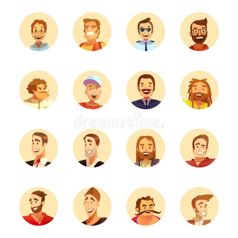 Historieta de los iconos de Avatar del hombre redonda ilustración del vector