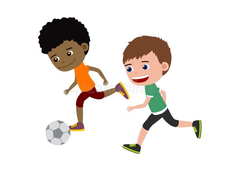 Historieta de los muchachos del fútbol stock de ilustración