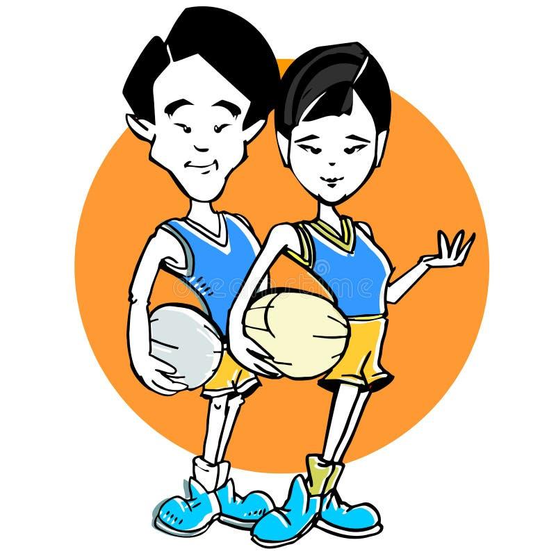 Historieta de los pares del asiático del baloncesto ilustración del vector
