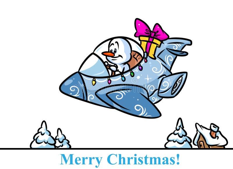Historieta de los regalos del avión de combate del carácter del muñeco de nieve de la Navidad ilustración del vector