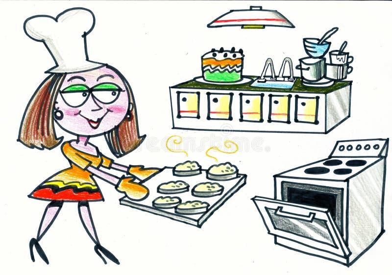 Historieta de los scones felices de la hornada de la mujer en cocina fotos de archivo