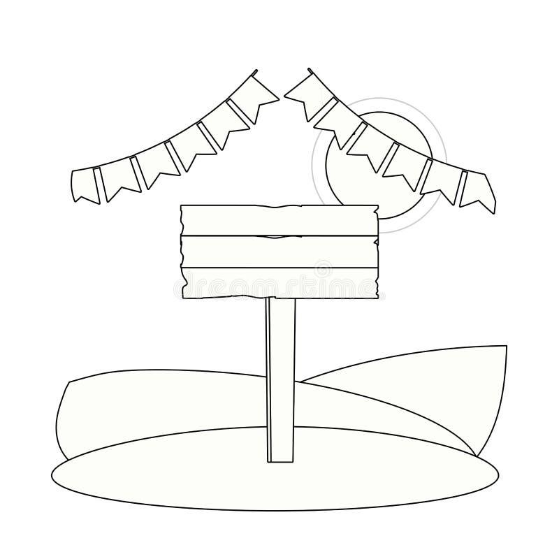 Historieta de madera de la muestra ilustración del vector