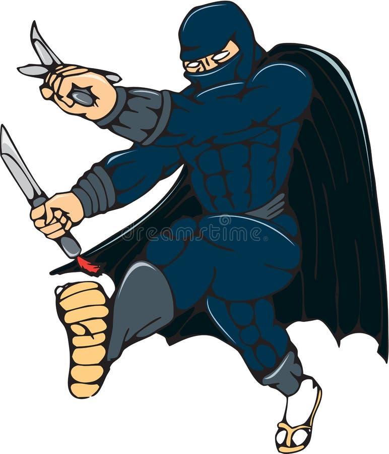 Historieta de Ninja Masked Warrior Kicking libre illustration
