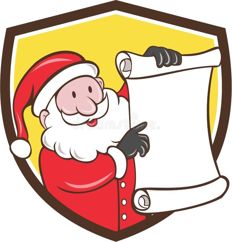 Historieta de Santa Claus Paper Scroll Pointing Shield stock de ilustración