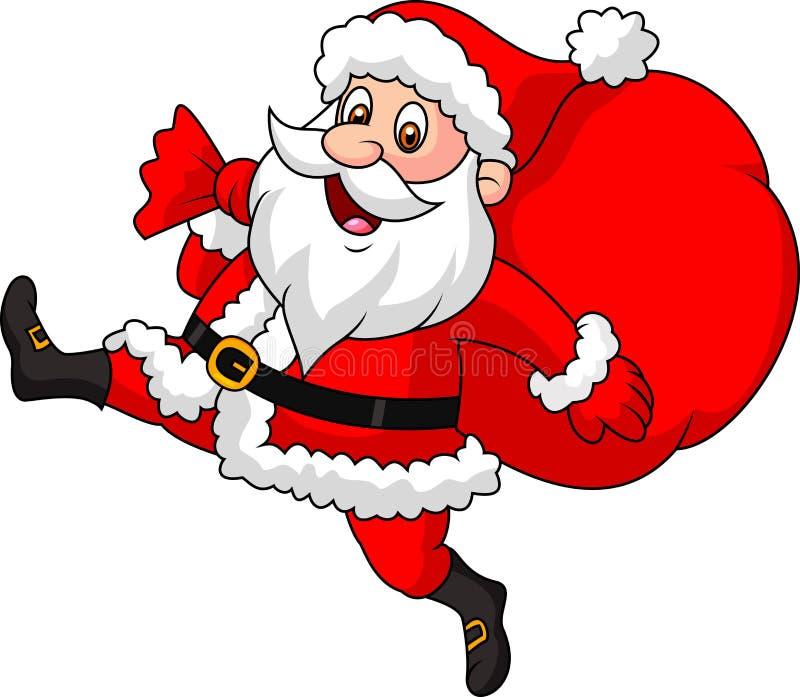 Historieta de Santa Claus que corre con el bolso de los presentes ilustración del vector