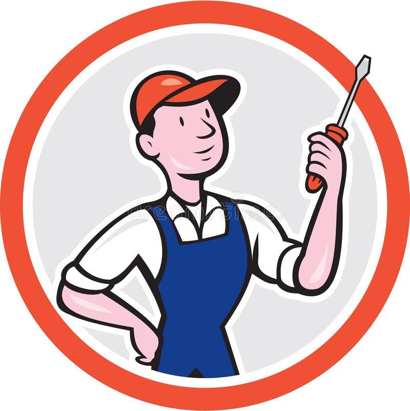 Historieta de Standing Screwdriver Circle del electricista stock de ilustración
