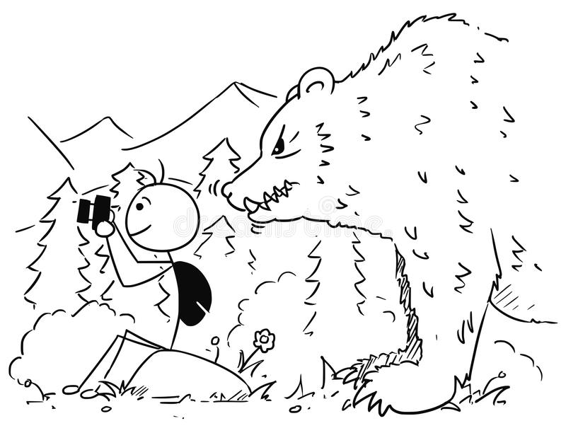 Historieta de Stickman del vector del turista con la cámara en montañas con ilustración del vector