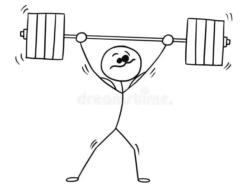 Historieta de Stickman del vector del Weightlifter con el Barbell stock de ilustración