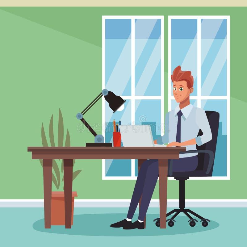 Historieta de trabajo del hombre de negocios ilustración del vector