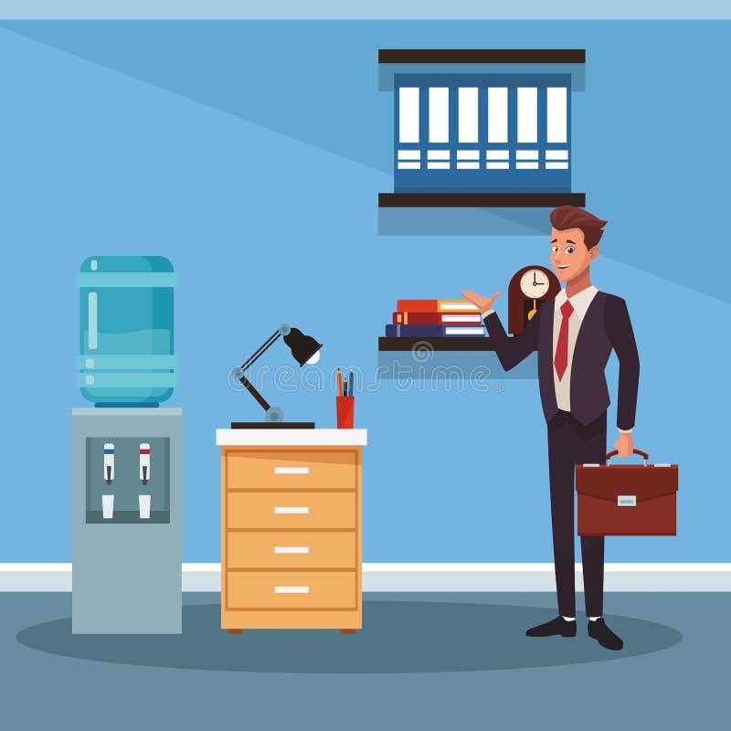 Historieta de trabajo del hombre de negocios stock de ilustración