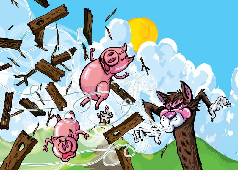 Historieta de tres cerdos stock de ilustración