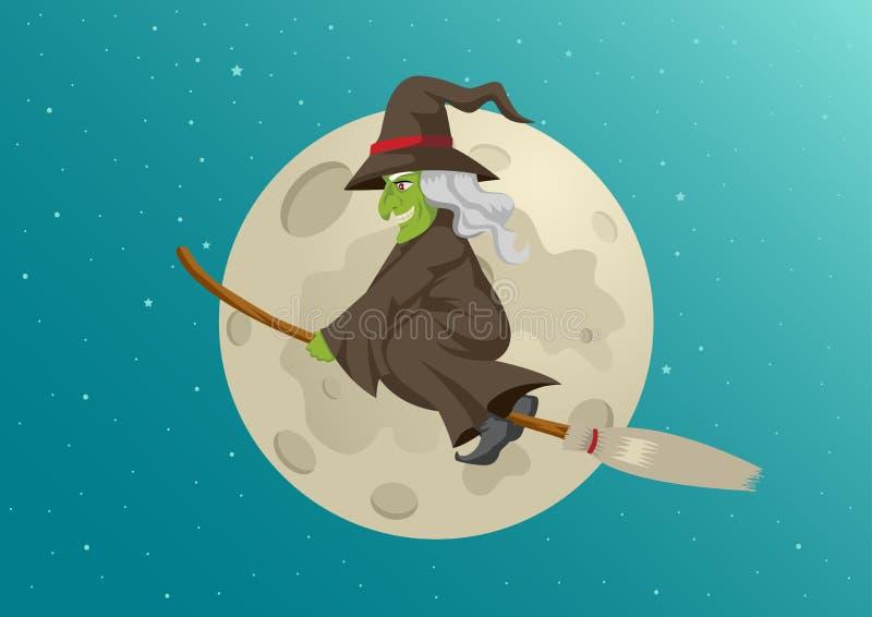 Historieta de un vuelo de la bruja con su escoba durante la Luna Llena libre illustration