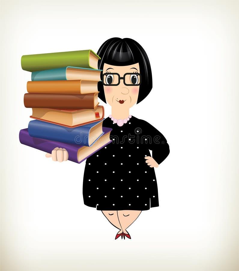 Historieta de una señora mayor Holding Books por un lado stock de ilustración