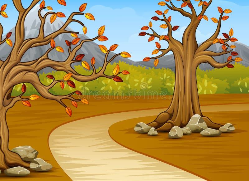 Historieta del árbol hermoso del otoño con un fondo de la montaña libre illustration
