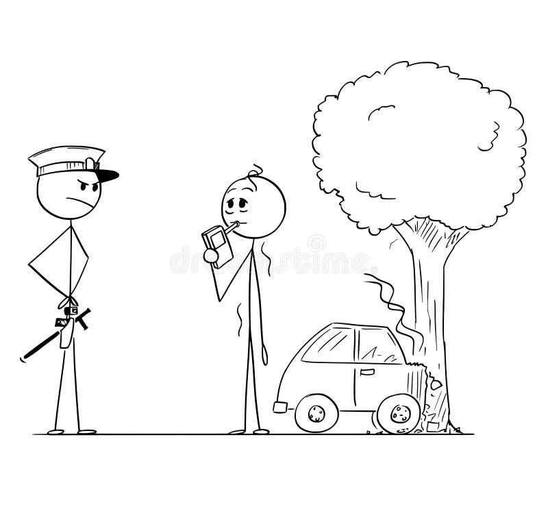 Historieta del índice de alcohol del policía que controla del conductor borracho After Car Accident ilustración del vector
