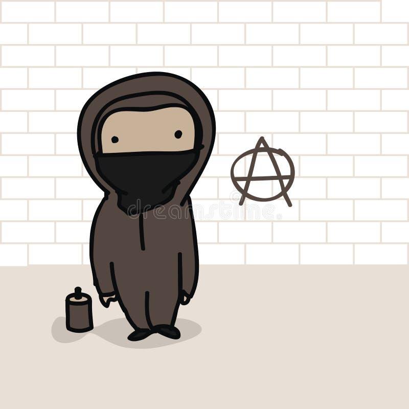 Historieta del anarquista ilustración del vector