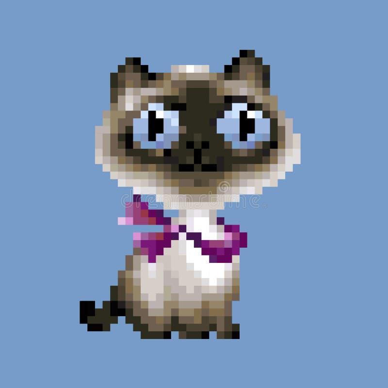 Historieta del arte del pixel del vector del gato siamés ilustración del vector
