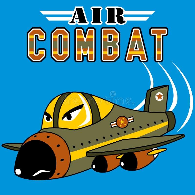 Historieta del avión de combate en fondo azul libre illustration