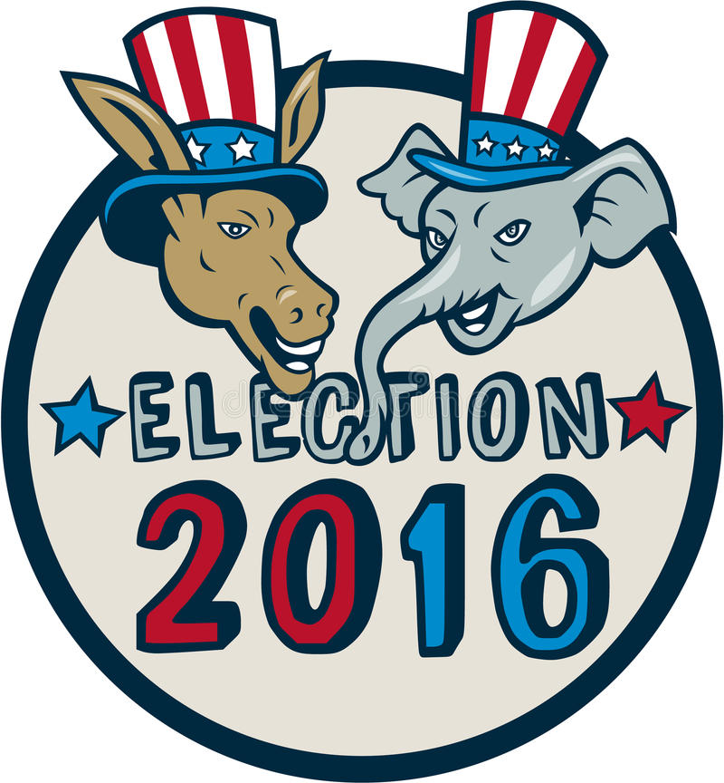Historieta 2016 del círculo del elefante del burro de la mascota de la elección de los E.E.U.U. libre illustration
