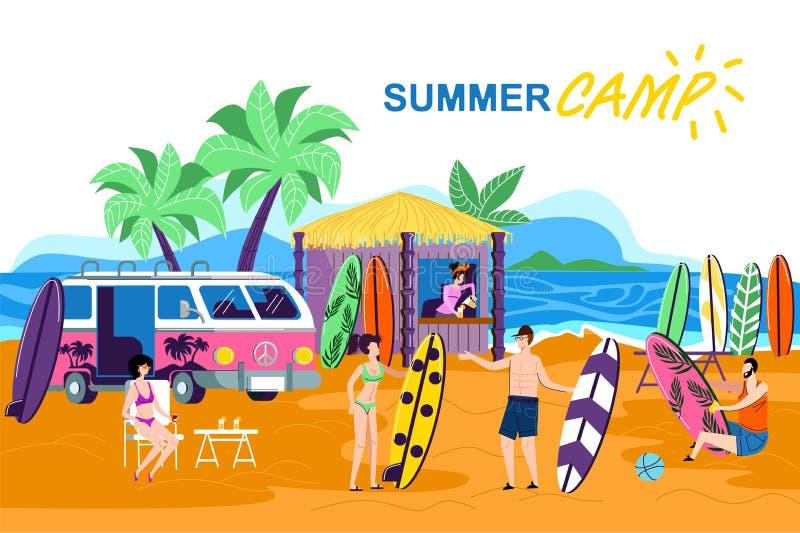 Historieta del campamento de verano de la inscripción del cartel de la información ilustración del vector