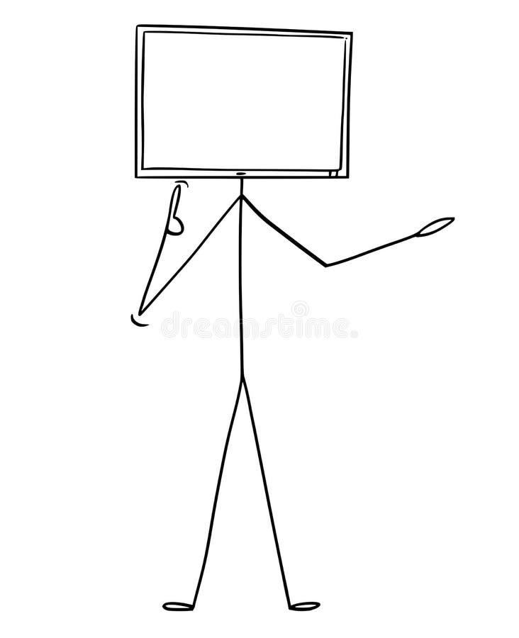 Historieta del carácter con el ordenador o el monitor de la TV como cabeza ilustración del vector