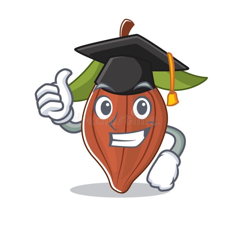Historieta del carácter de la haba del cacao de la graduación ilustración del vector
