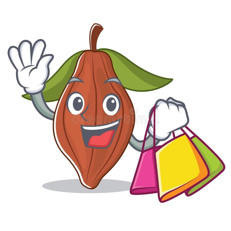 Historieta del carácter de la haba del cacao de las compras stock de ilustración
