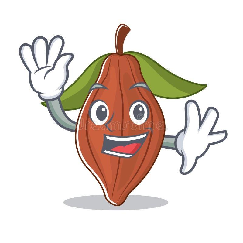 Historieta del carácter de la haba del cacao que agita ilustración del vector