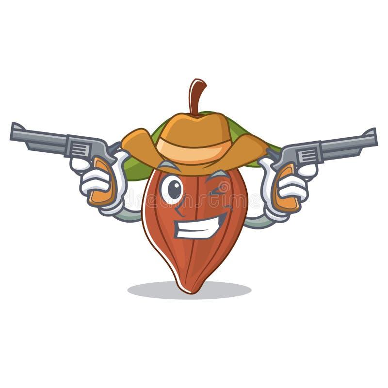 Historieta del carácter de la haba del cacao del vaquero ilustración del vector