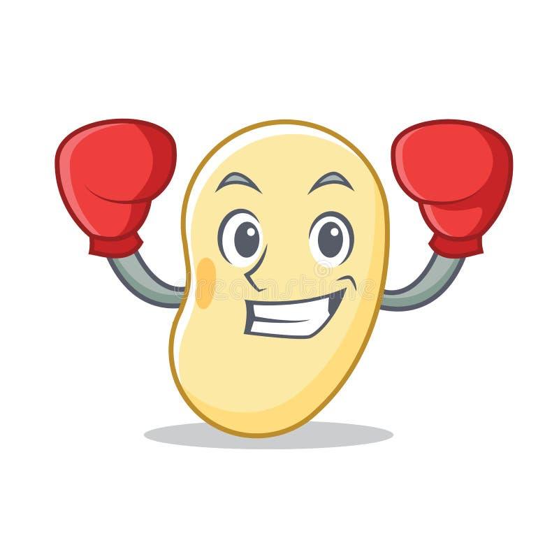 Historieta del carácter de la haba de la soja del boxeo stock de ilustración