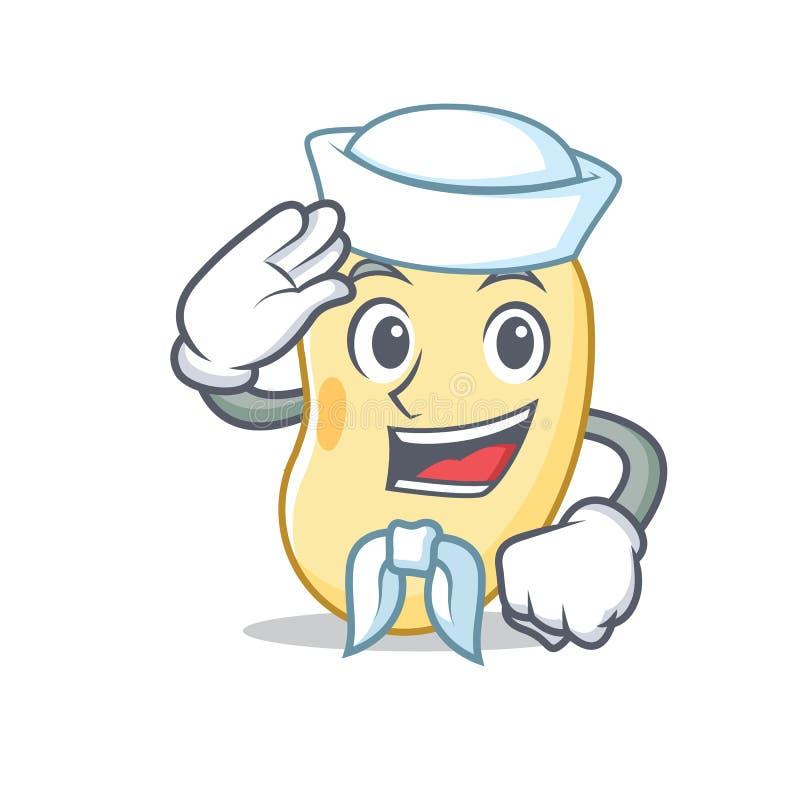 Historieta del carácter de la haba de la soja del marinero stock de ilustración