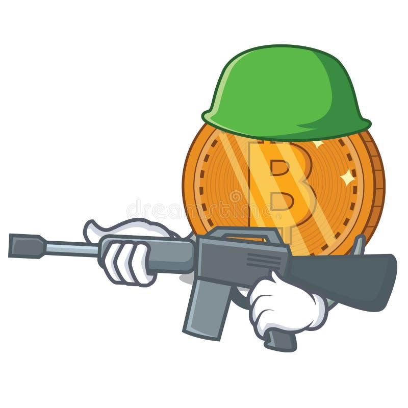 Historieta del carácter de la moneda del bitcoin del ejército libre illustration
