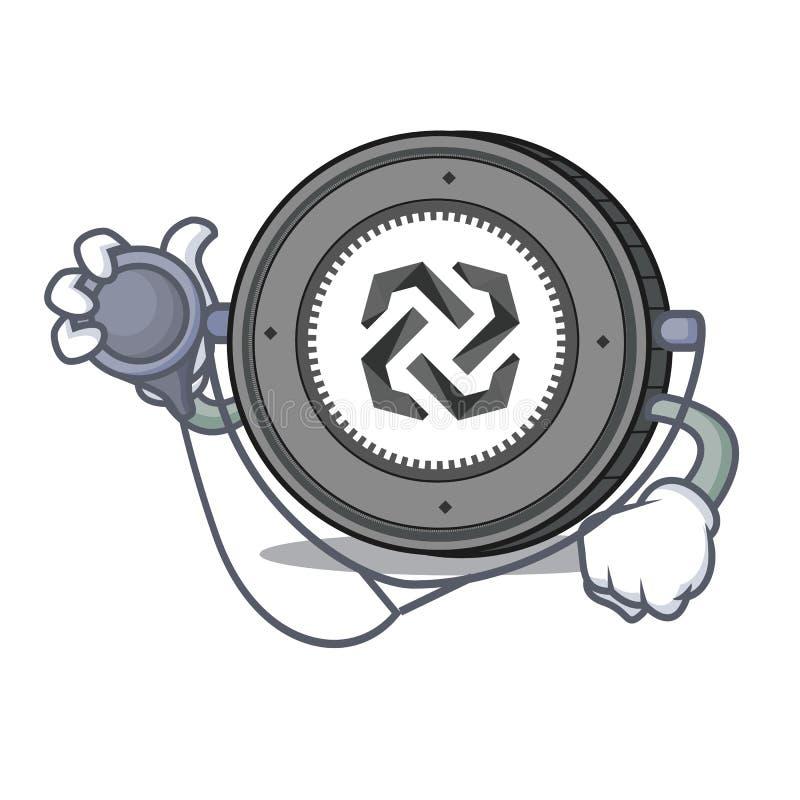Historieta del carácter de la moneda del doctor Bytom stock de ilustración