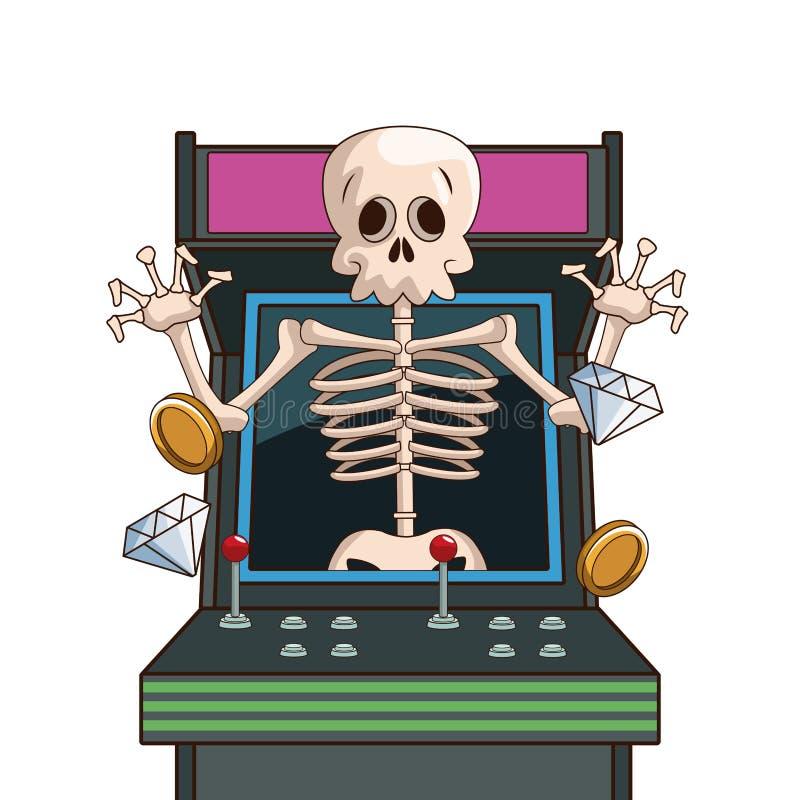 Historieta del carácter del videojuego del cráneo en arcada libre illustration