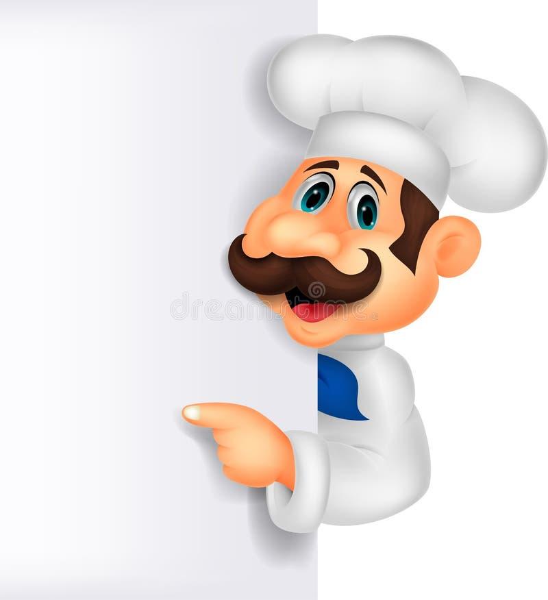 Historieta del cocinero con la muestra en blanco stock de ilustración