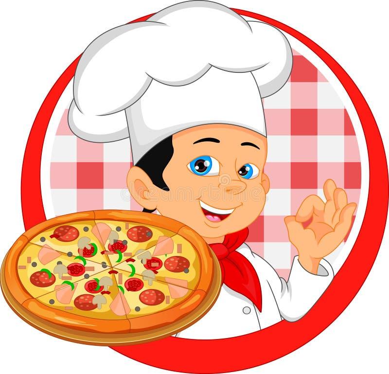 Historieta del cocinero del muchacho con la pizza stock de ilustración
