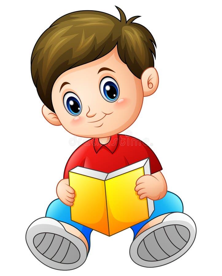 Historieta del colegial que lee un libro libre illustration