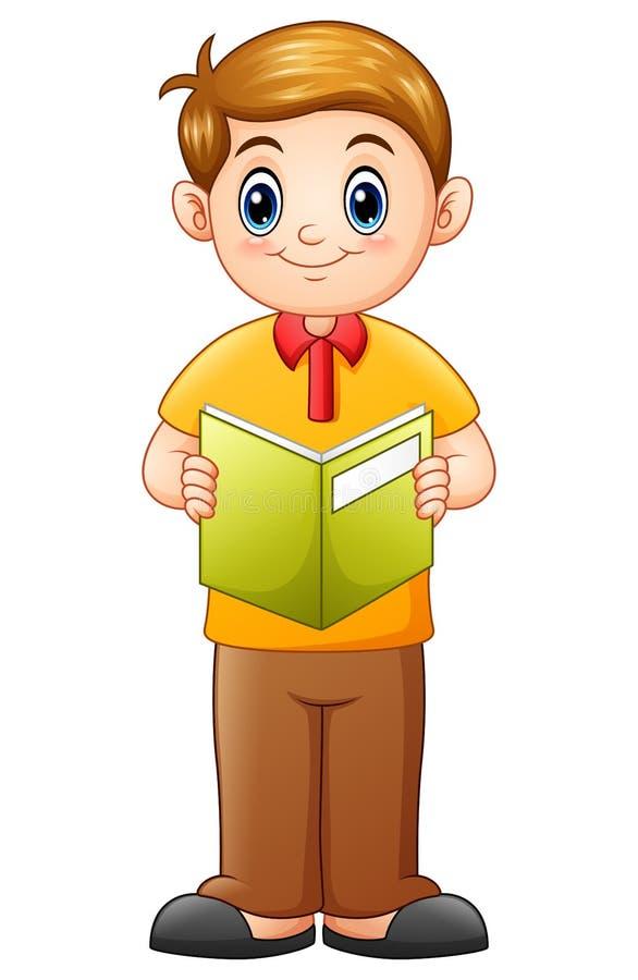 Historieta del colegial que lee un libro ilustración del vector