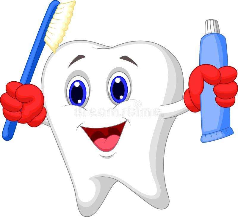Historieta del diente que sostiene el cepillo de dientes y la crema dental stock de ilustración