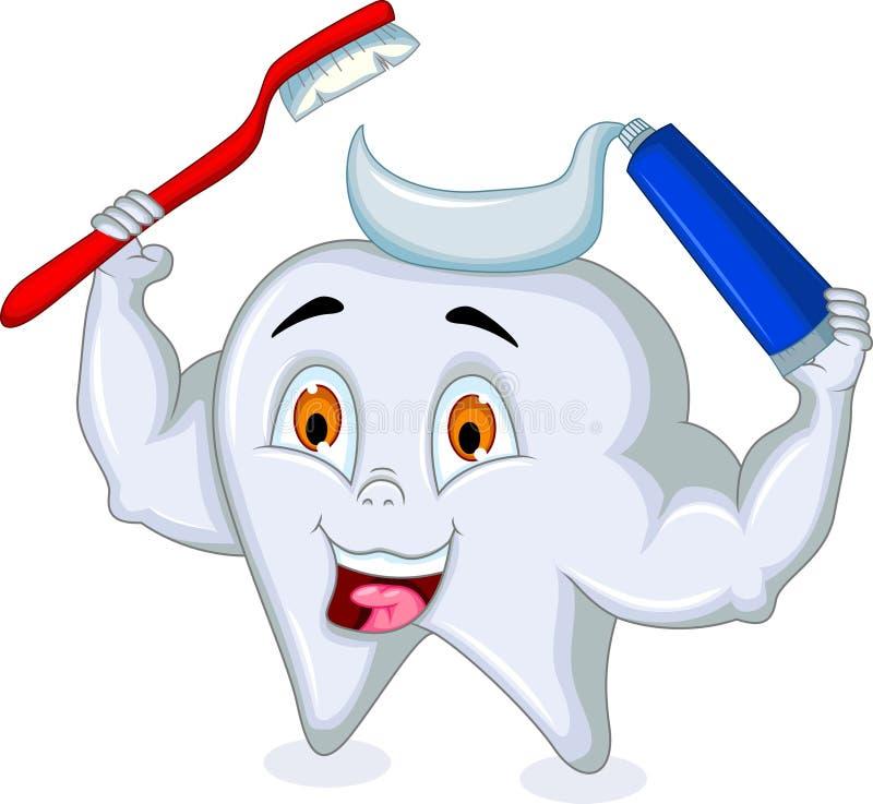 Historieta del diente que sostiene el cepillo de dientes y la crema dental libre illustration