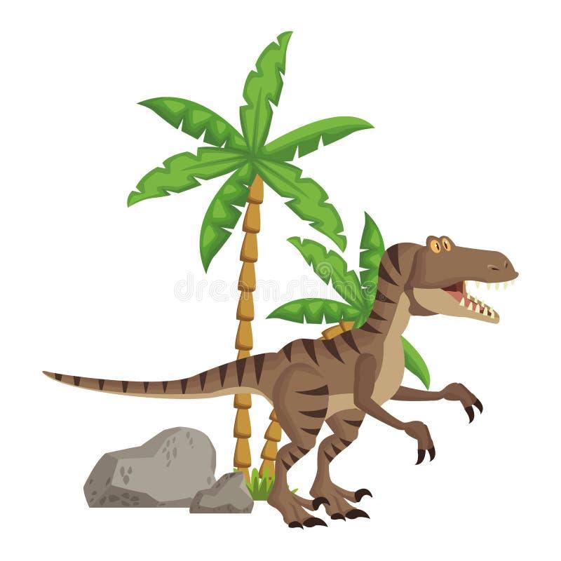 Historieta del dinosaurio del rapaz ilustración del vector