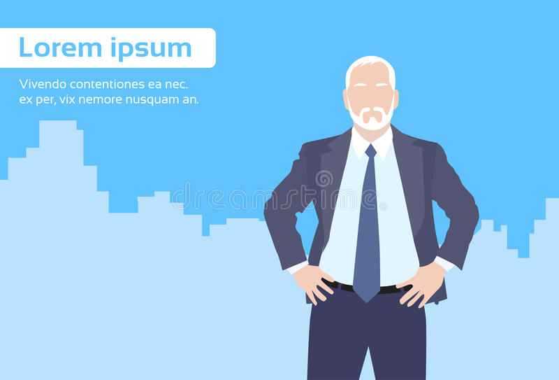 Historieta del dueño de Senior Boss Business del hombre de negocios stock de ilustración