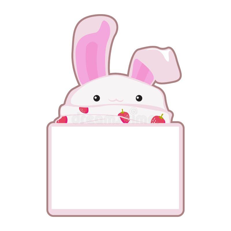 Historieta del ejemplo del papel de nota de la burbuja del discurso del mensaje del vector del conejito del conejo libre illustration