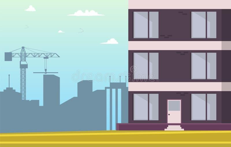 Historieta del ejemplo del vector que construye el nuevo hogar stock de ilustración